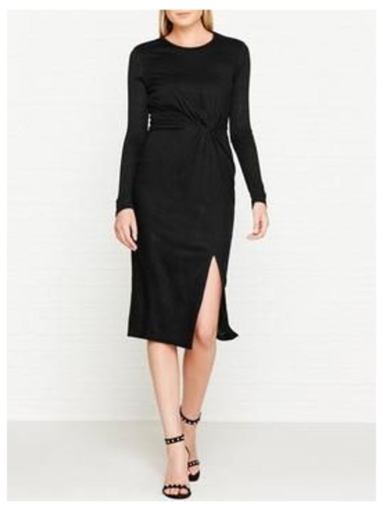 Kendall + Kylie Knotted Long Sleeve Dress - Black