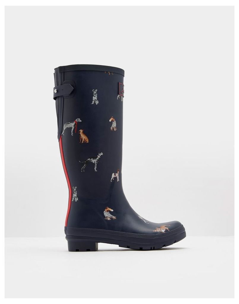 French Navy Chic Dogs Ajusta Adjustable Back Gusset Printed Wellies  Size Adult 7   Joules UK