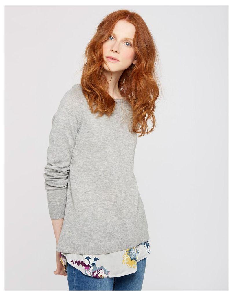 Soft Grey Marl Ellenor Woven Knit Mix Jumper  Size 12   Joules UK