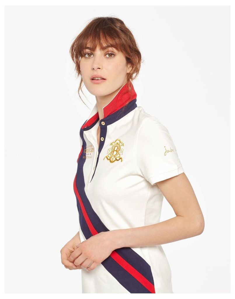 Creme Official burghley horse trials 2017 Polo Shirt  Size 12   Joules UK