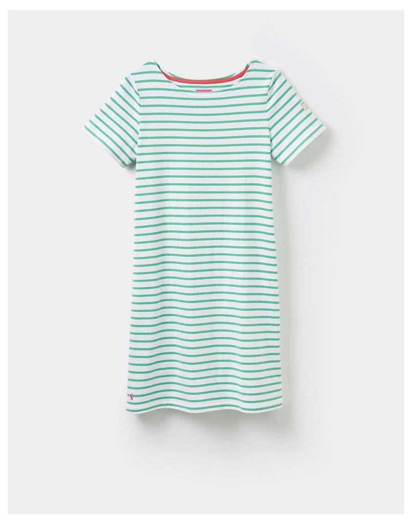 Spring Green Stripe 124182 Womens Jersey T-Shirt Dress  Size 12   Joules UK