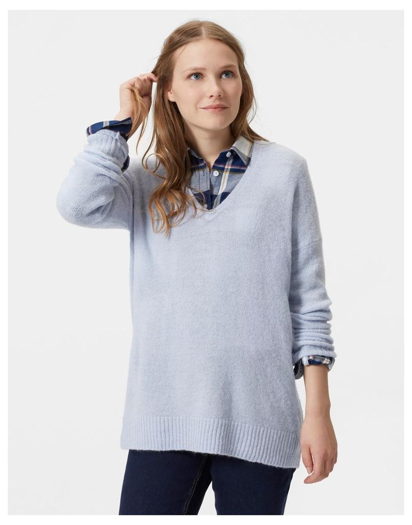 Soft Blue Softly Oversized V Neck Jumper  Size 10   Joules UK