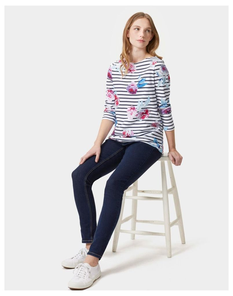 Navy Beau Bloom Stripe Harbour print Jersey Top  Size 6   Joules UK
