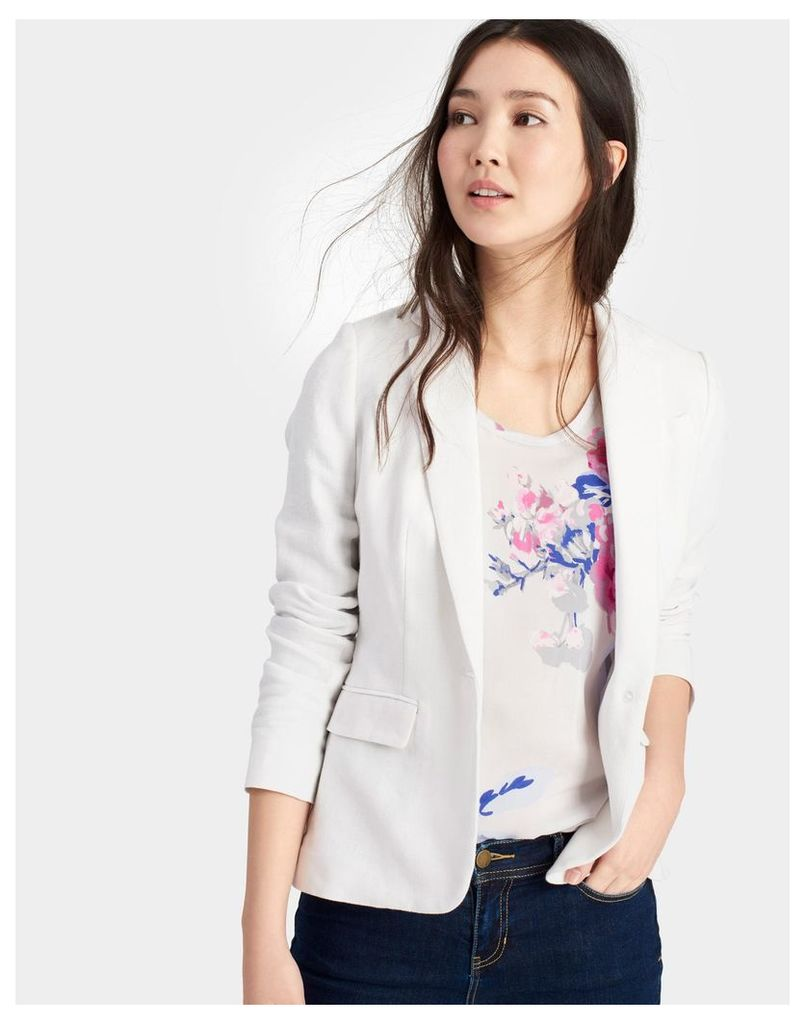 Chalk Kira Linen Mix Blazer  Size 16   Joules UK