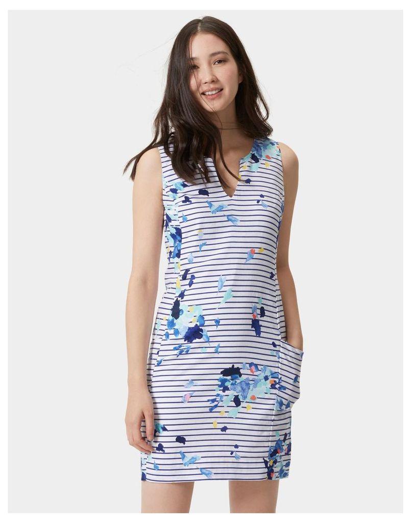 Multi Flo Stripe Elayna Sleeveless Shift Dress  Size 6   Joules UK