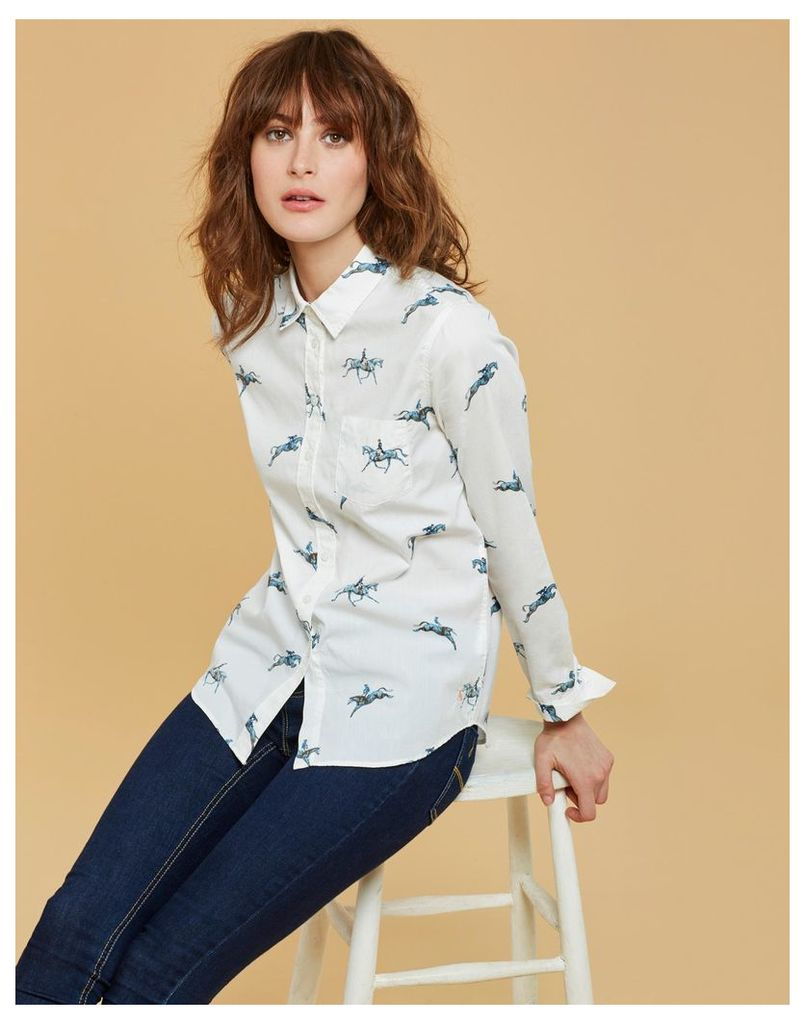 Cream Horse Lucie Classic Fit Shirt  Size 12   Joules UK