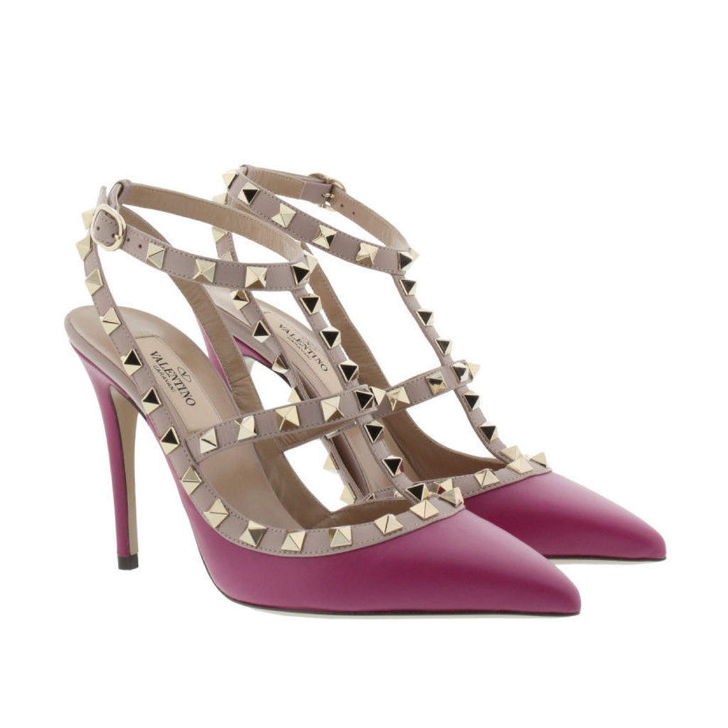 Valentino Pumps - Rockstud Ankle Strap Camelia - in red - Pumps for ladies