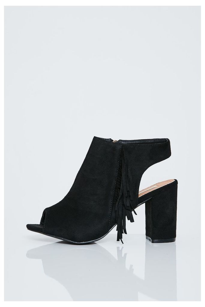 Brand Attic Peep Toe Fringed Ankle Boots - Black
