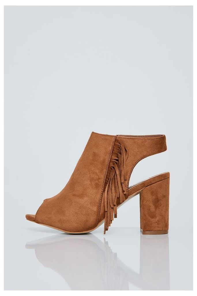 Brand Attic Peep Toe Fringed Ankle Boots - Brown