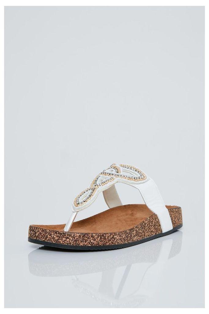 Brand Attic Embellished Slip On Sandals - White