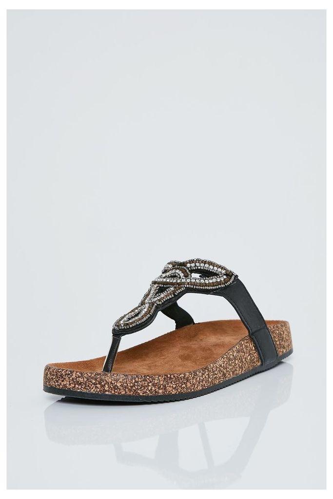 Brand Attic Embellished Slip On Sandals - Black