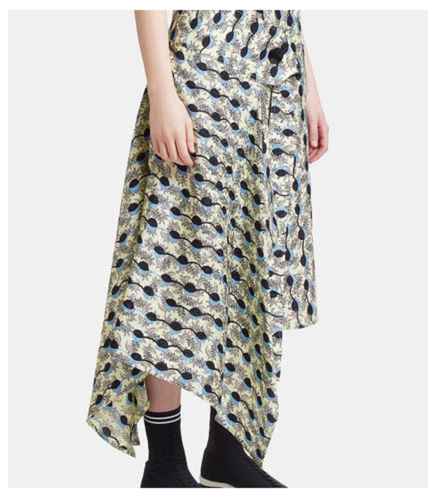 Women's Asymmetric Wrap Jacquard Skirt in Yellow
