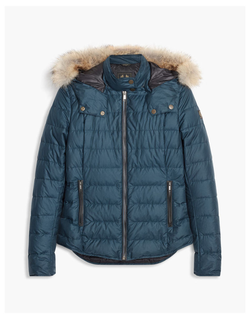 Belstaff Avedon Down Jacket With Fur Blue