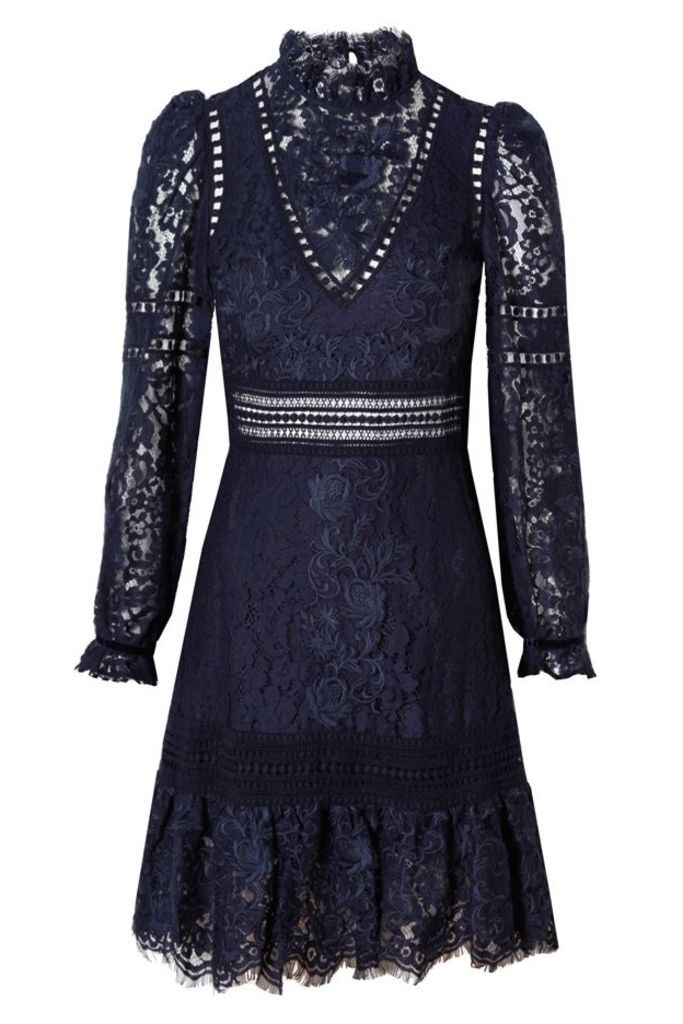 Long Sleeve Lace Embroidered Dress Navy