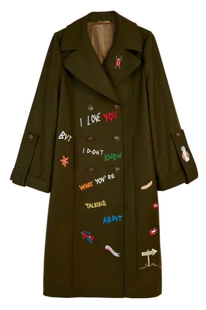 Adventure Embroidered Coat Khaki