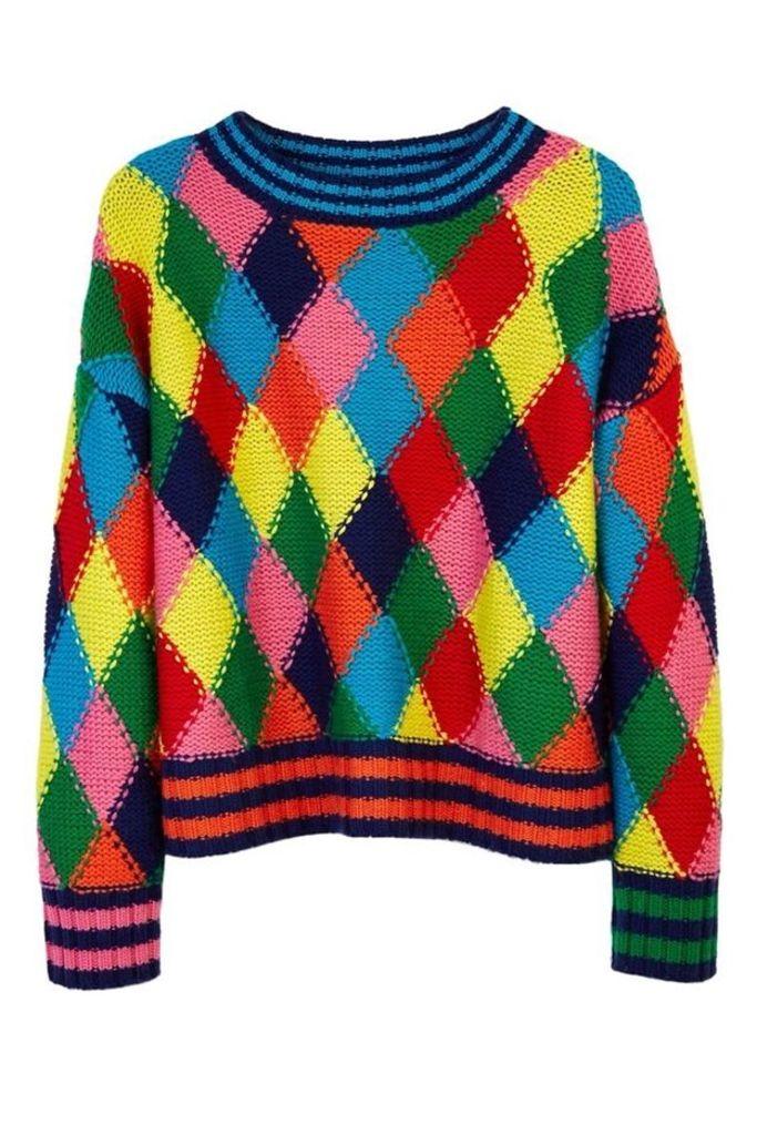 Diamond Stitch Hand Knit Sweater Multi