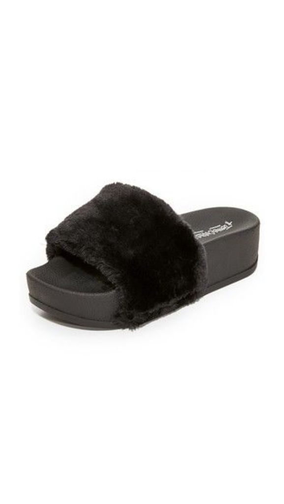 Jeffrey Campbell Lucky Me Platform Faux Fur Slides