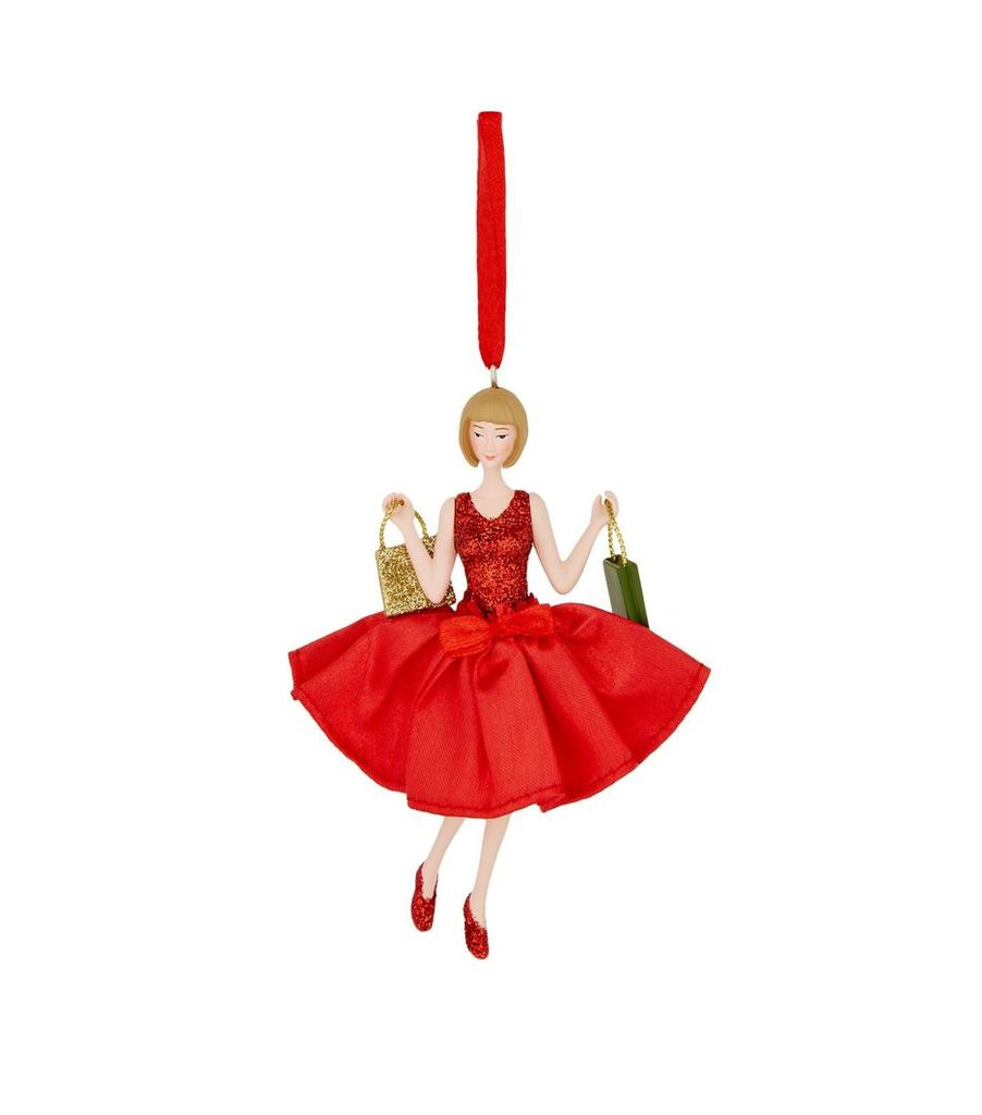 Red Dress Shopping Girl Decoration