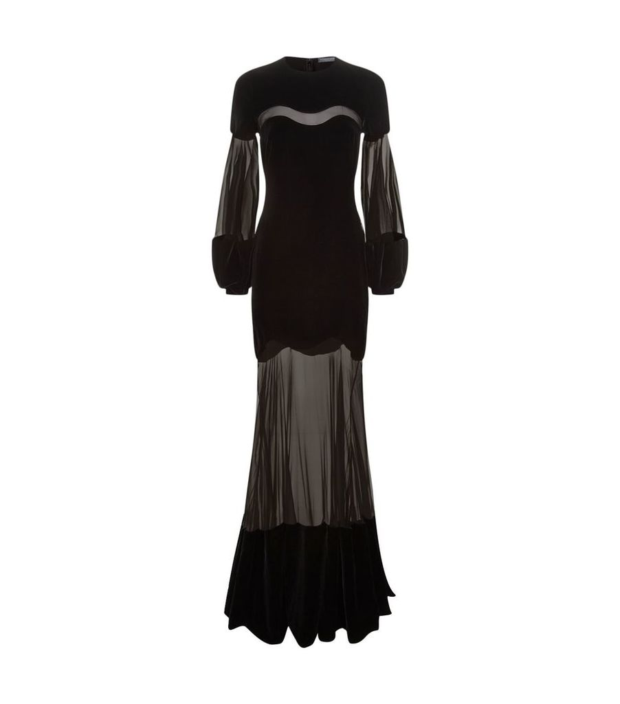 Sheer Panel Chenille Gown