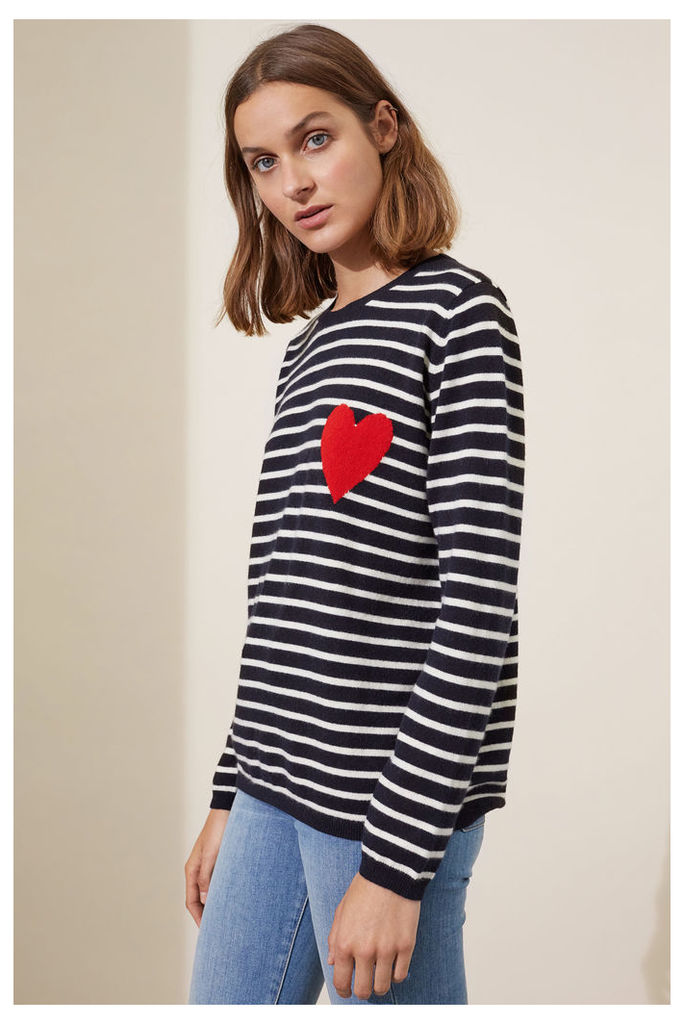 NEW Navy Heart Breton Cashmere Sweater