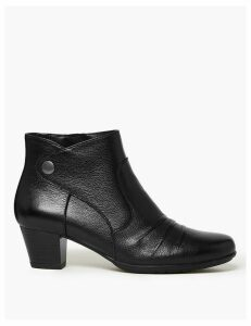 M&S Collection Wide Fit Leather Ruched Stud Ankle Boots