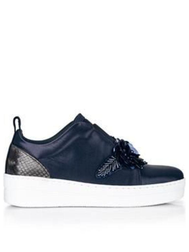Kurt Geiger London Loop Satin Sneakers With Embellishments- Navy