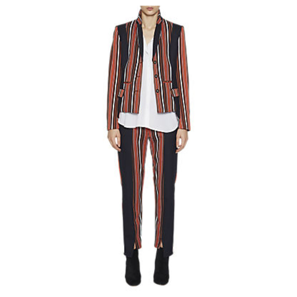 French Connection Dovie Stripe Long Sleeve Jacket, Copper Coin/Utility Blue