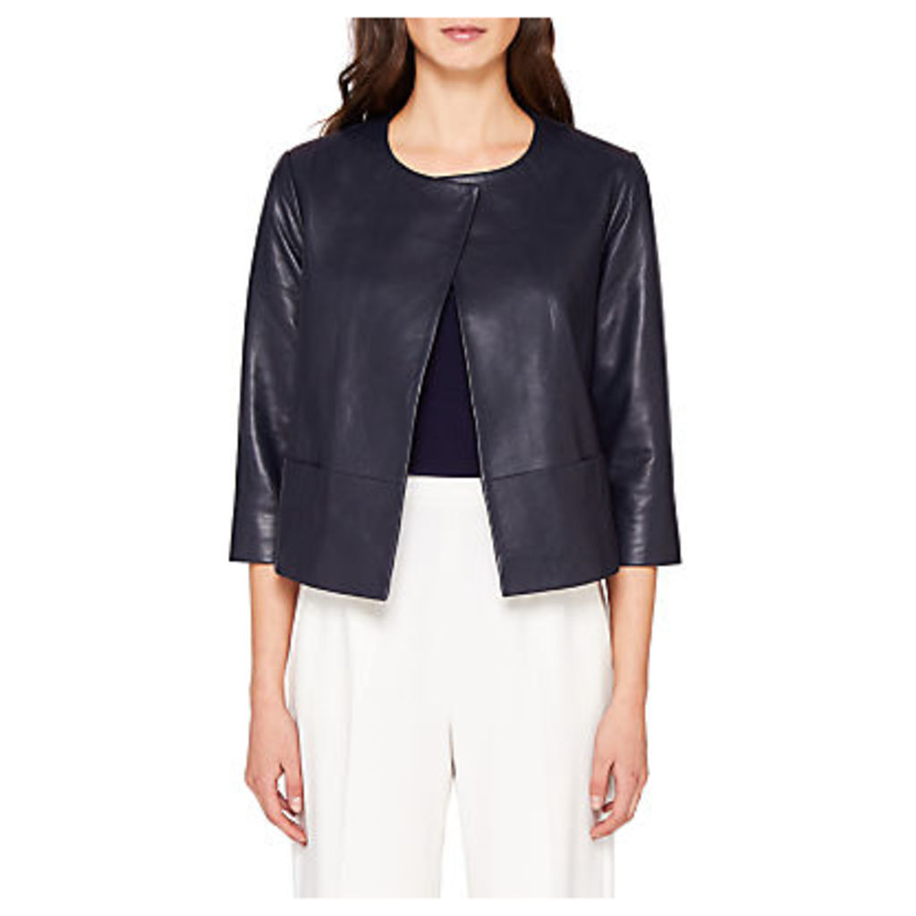 Ted Baker Rennay Leather Collarless Jacket, Navy