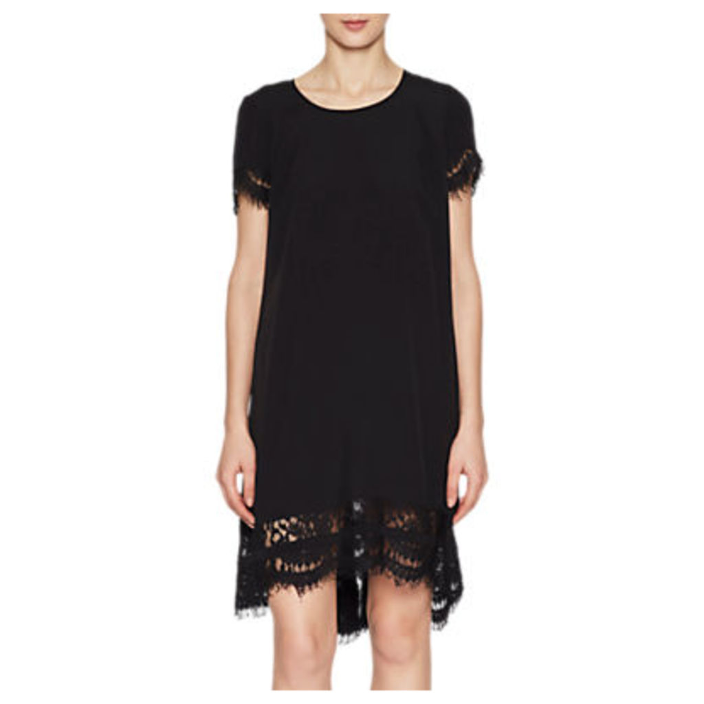 French Connection Lace Trim Tunic Dress, Black