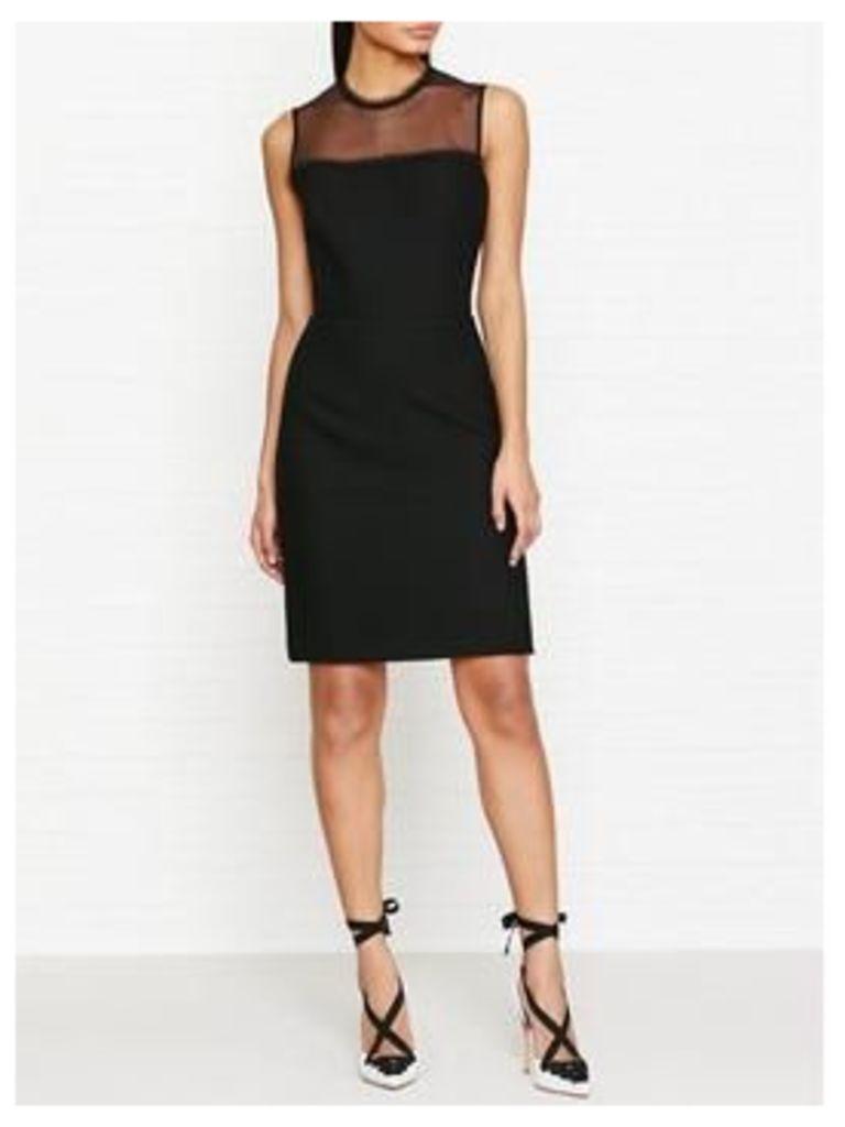 Reiss Madeline Bodycon Dress With Lace Trim - Black