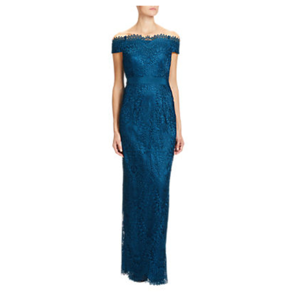 Adrianna Papell Venice Lace Long Dress, Peacock