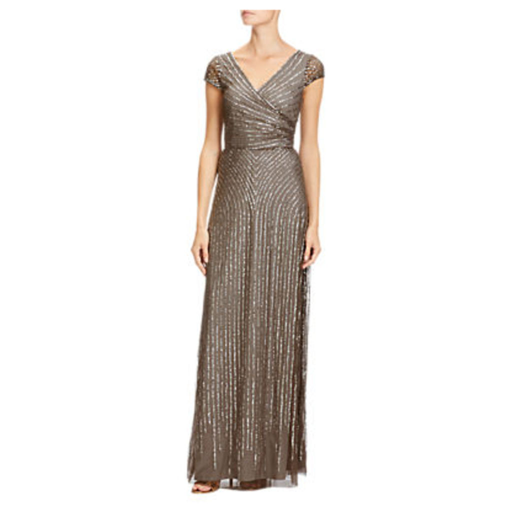Adrianna Papell Petite Wrap Beaded Gown, Lead