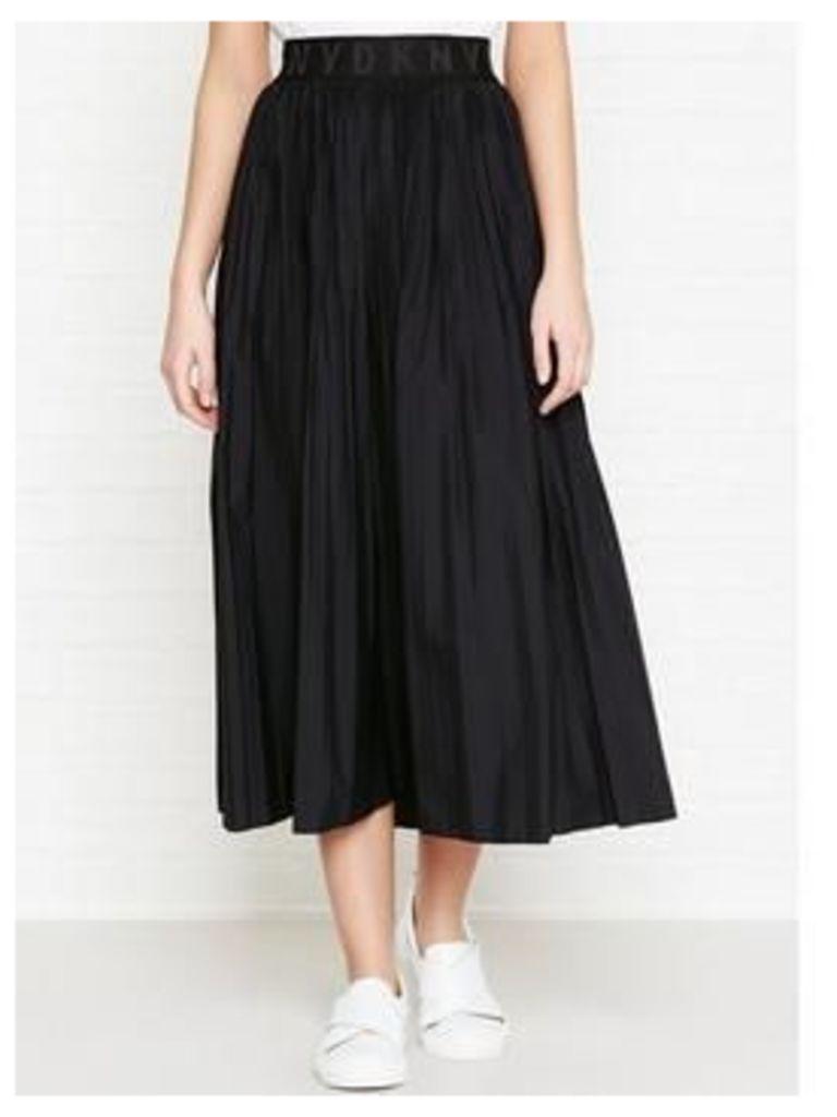 Dkny Pleated Skirt With Elastic Logo Waistband - Black, Size M