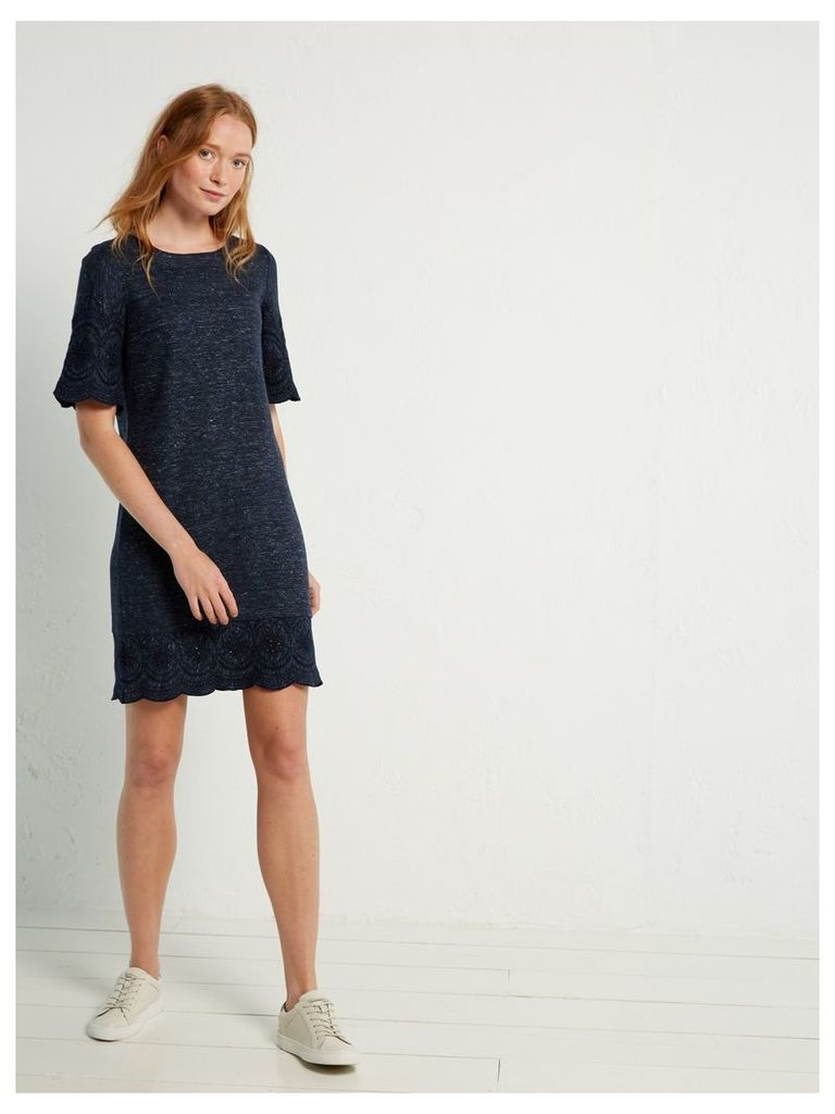 Linen Cutwork Jersey Dress