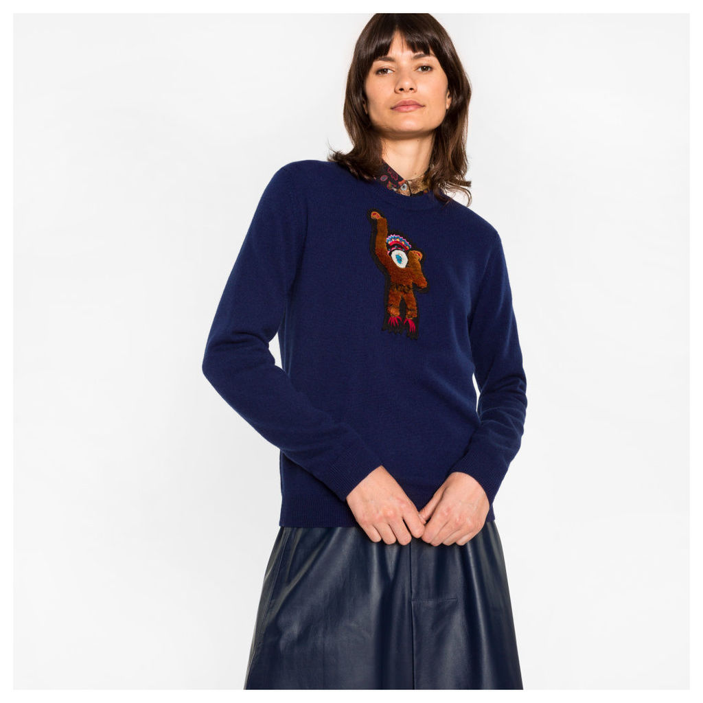 Women's Navy Cashmere Sweater With 'Monkey' Embroidery