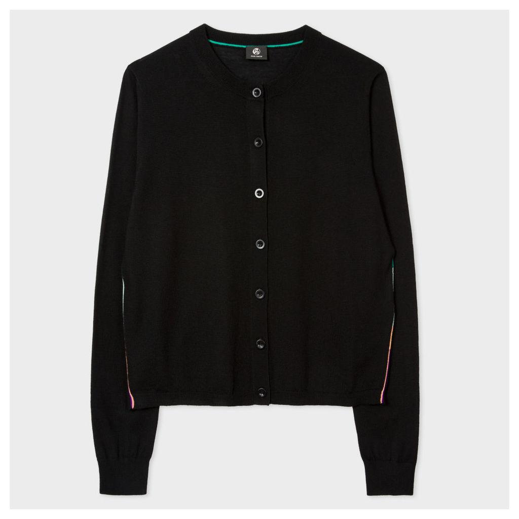 Women's Black Merino Wool Cardigan With Stripes