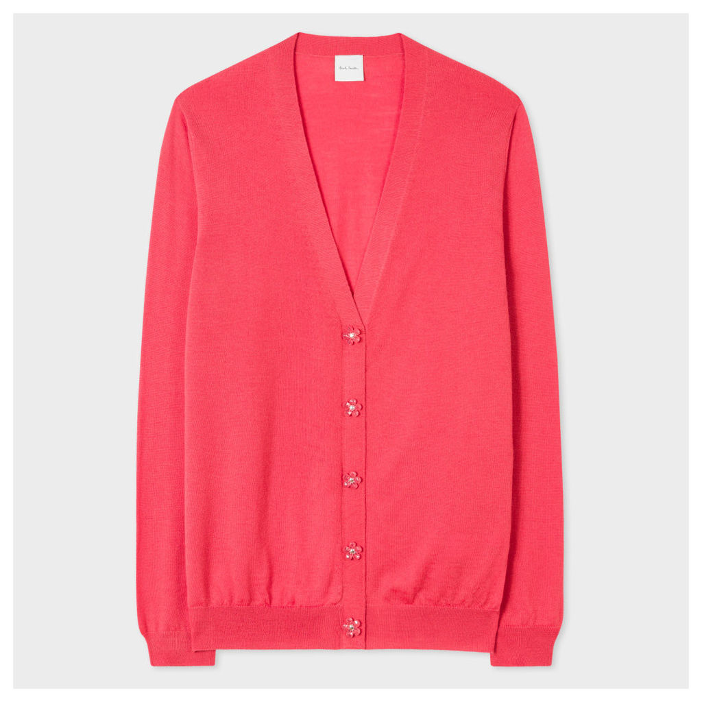 Women's Pink Merino Wool Cardigan With Flower Buttons