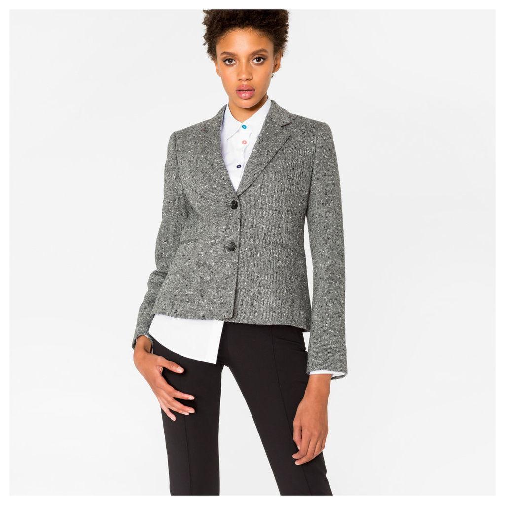 Women's Grey Salt-And-Pepper Tweed Blazer