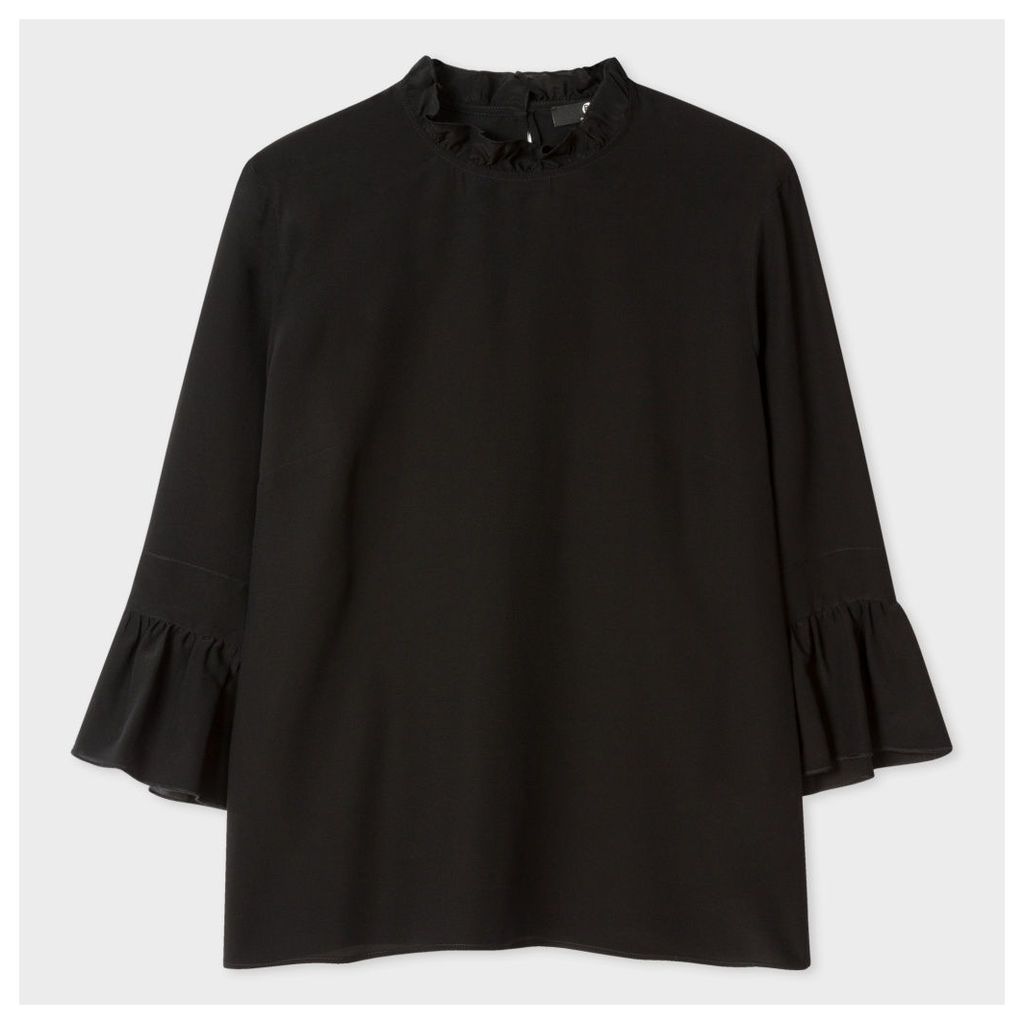 Women's Black Silk Top With Ruffle Neck And Sleeves