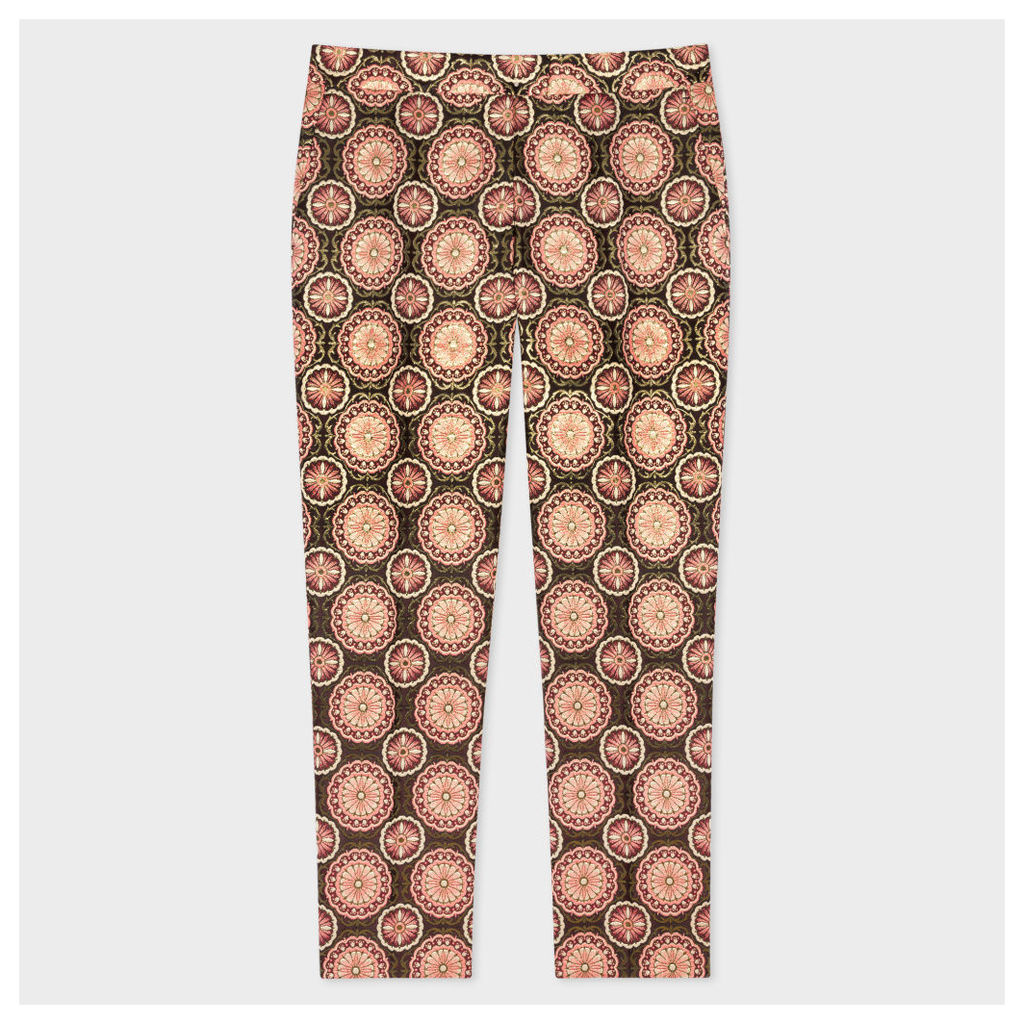 Women's Pink And Gold 'Tapestry' Jacquard Trousers