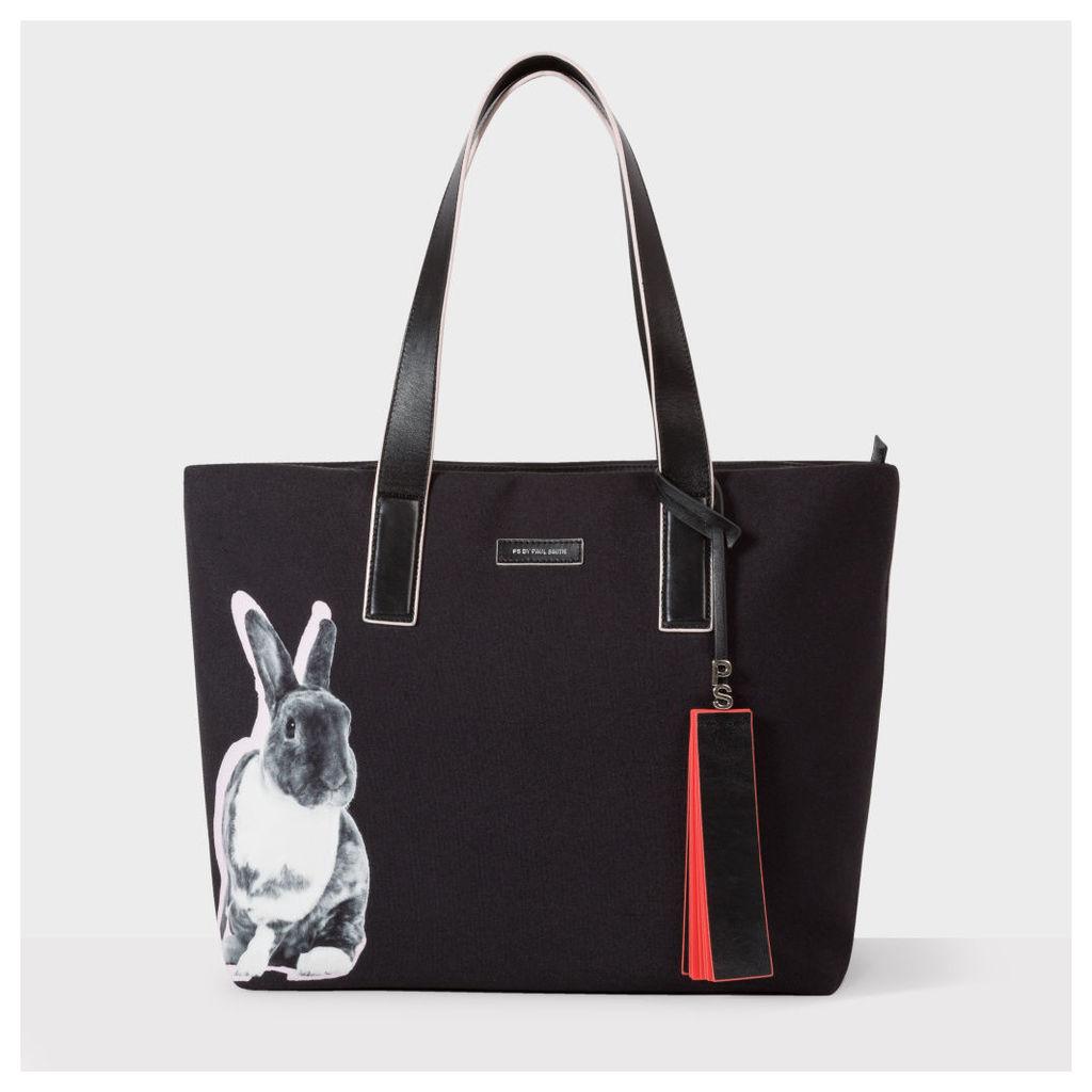 Women's Black 'Lucky Rabbit' Print Canvas Tote Bag