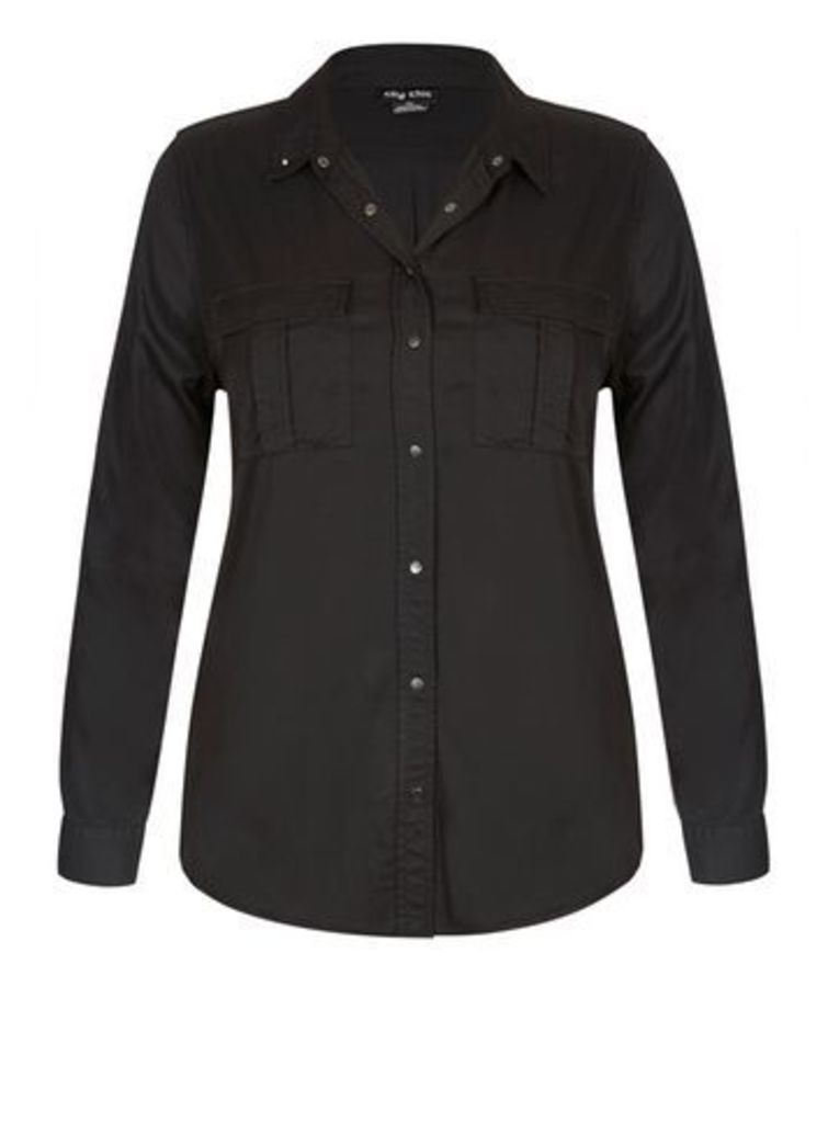 City Chic Grey Casual Shirt, Charcoal
