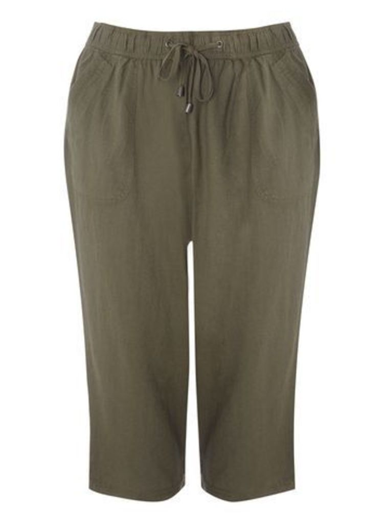 Olive Green Linen Blend Cropped Trousers, Olive
