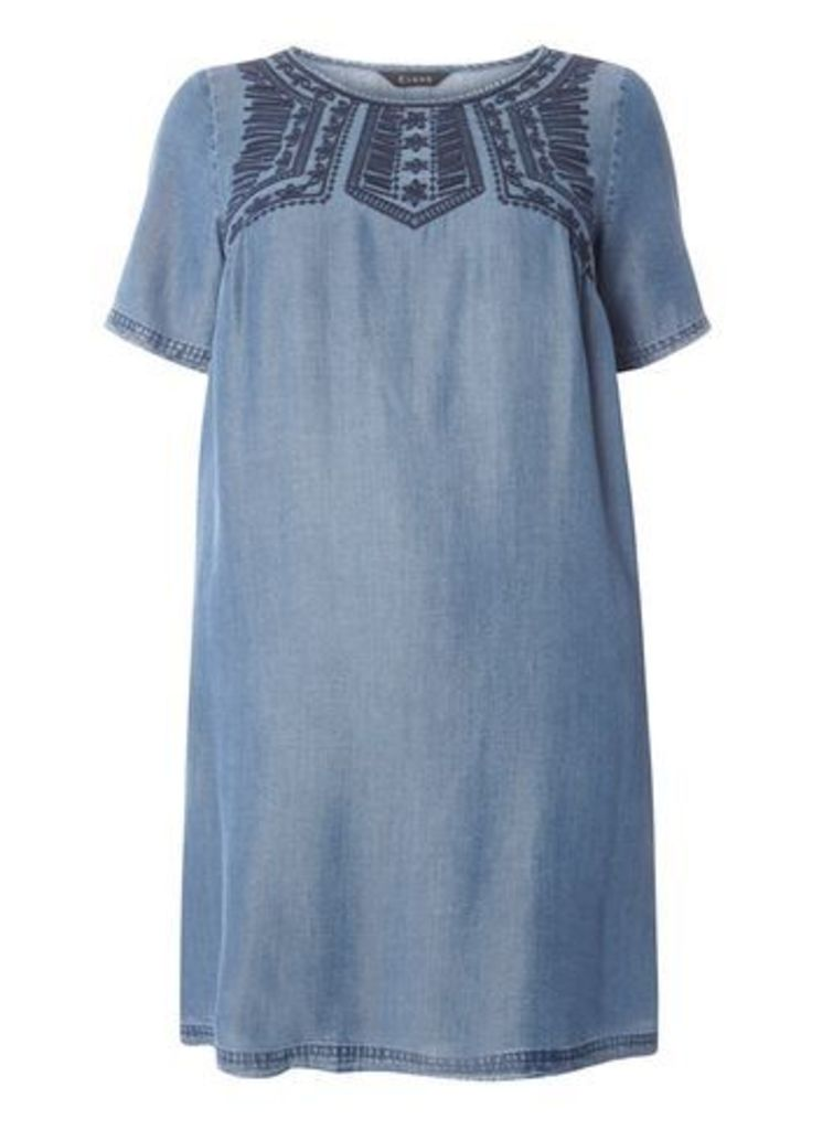 Blue Tencel Embroidered Tunic Dress, Blue