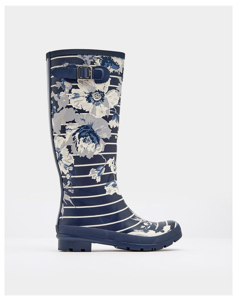 French Navy Posy Stripe Printed Wellies  Size Adult 8   Joules UK