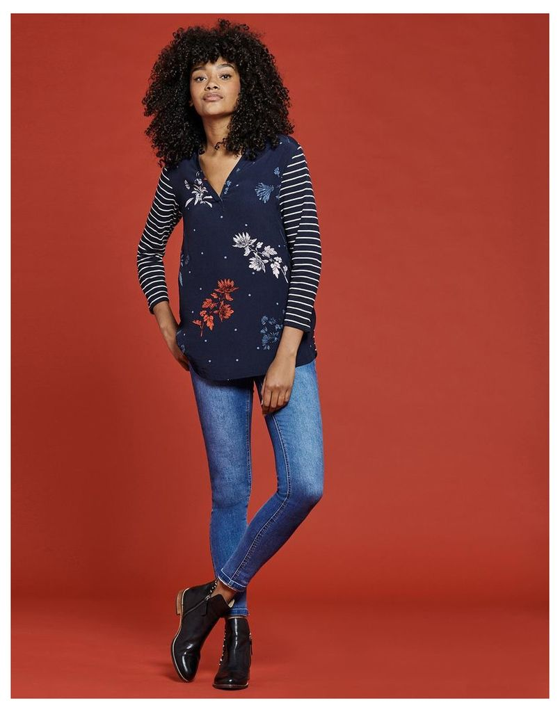 French Navy Fay Floral Scarlett Woven Jresey Mix Top  Size 12   Joules UK