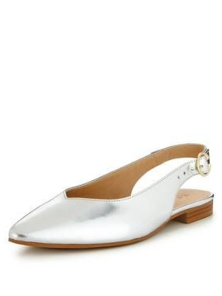 V by Very Leather Slingback Point Flat, Silver, Size 4, Women