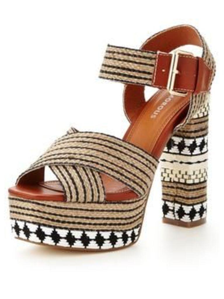 Glamorous Platform Sandal, Beige, Size 6, Women