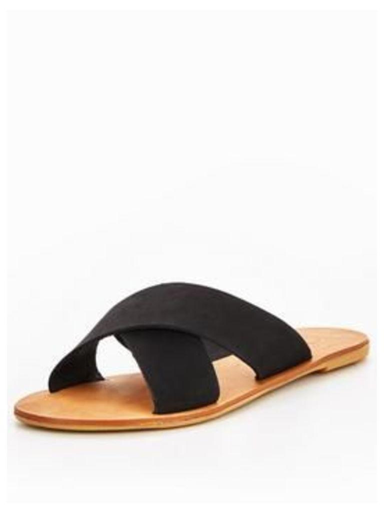 OFFICE Office spiritual W criss cross flat sandal, Black, Size 5, Women