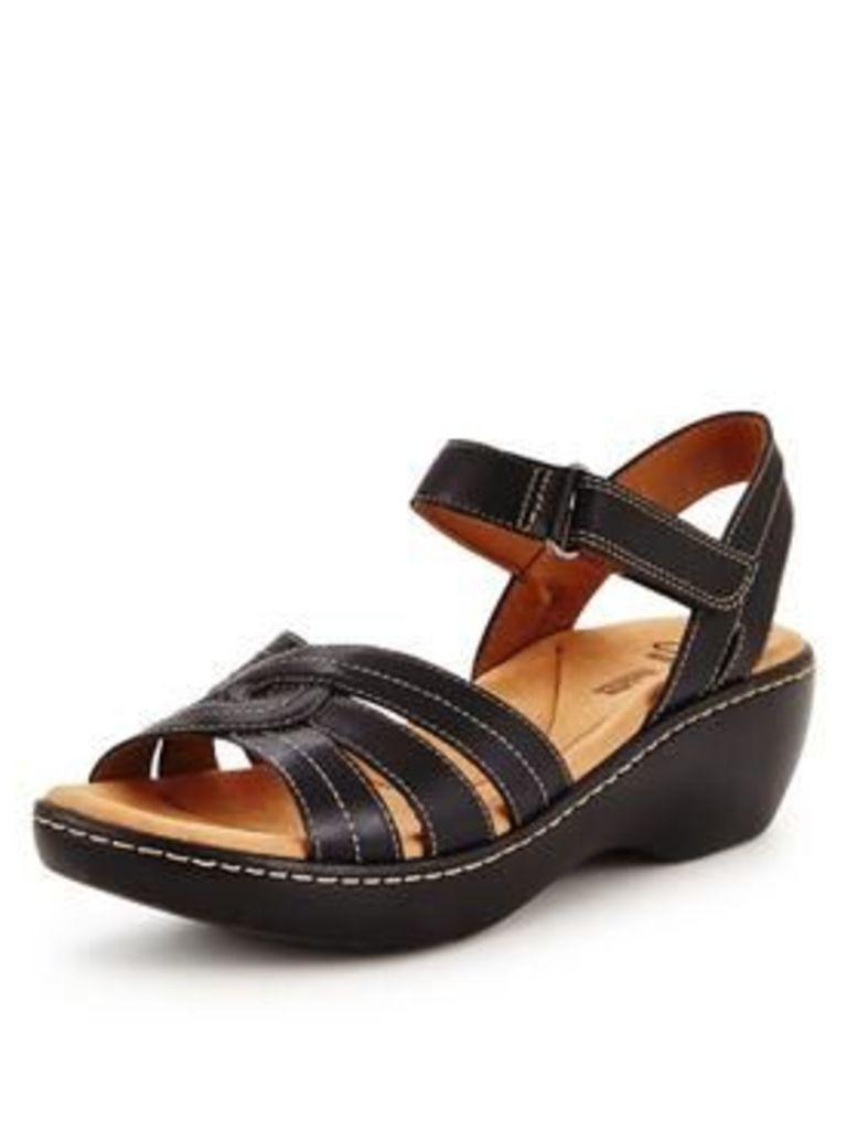 Clarks Delana Varro Low Wedge Sandal, Black Leather, Size 3, Women